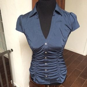 Navy Blue Express Ruched Women's Shirt, Size Small